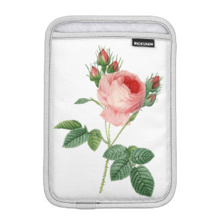Pink rose vintage botanical illustration iPad mini sleeve