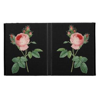 Pink rose vintage botanical illustration on black iPad folio cases