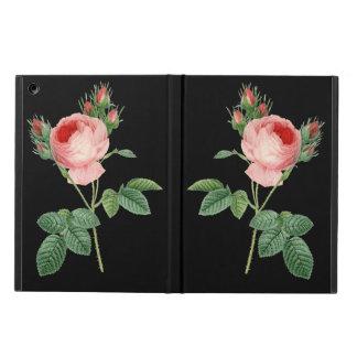 Pink rose vintage botanical illustration on black case for iPad air