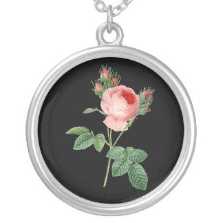 Pink rose vintage botanical illustration on dark silver plated necklace