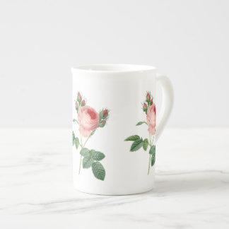 Pink rose vintage botanical illustration tea cup
