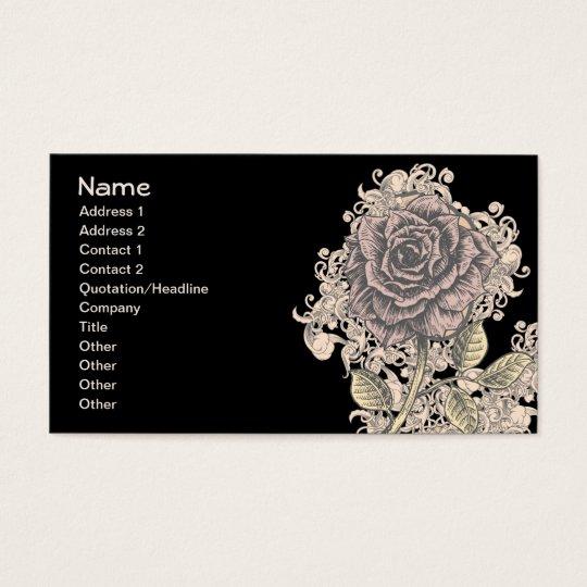 Pink Rose Vintage Retro Grunge Floral Business Card