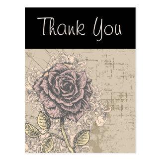 Pink Rose Vintage Retro Grunge Floral Postcard