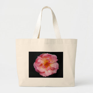 Pink Rose w/ Dew Drops Black Background Bags