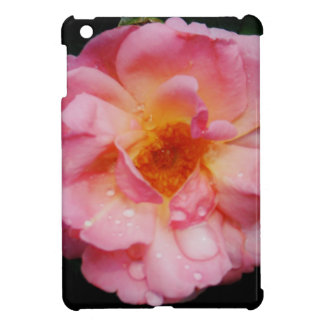 Pink Rose w Dew Drops Black Background Cover For The iPad Mini