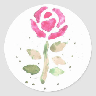 Pink Rose (Watercolor by K.Turnbull Art) Round Sticker