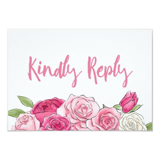 Pink Rose Watercolor Floral Wedding RSVP Card