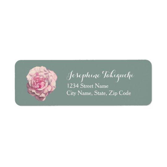 Pink Rose Watercolor Illustration Custom Return Address Label