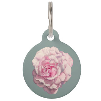 Pink Rose Watercolor Illustration Customizable Pet ID Tags