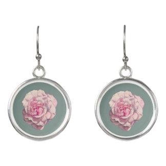 Pink Rose Watercolor Illustration Earrings