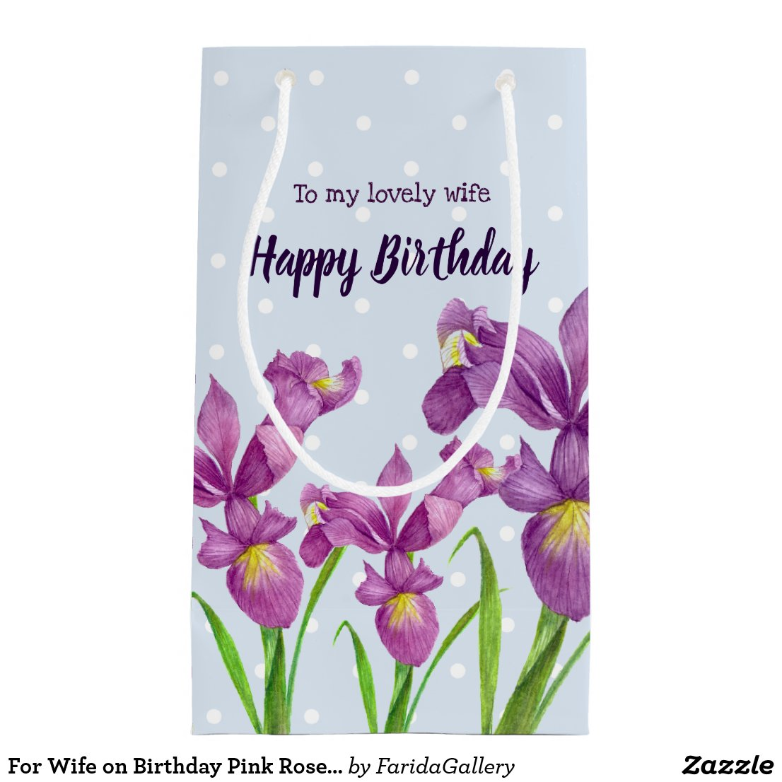 Pink Rose Watercolor Illustration Floral Polka Dot Small Gift Bag