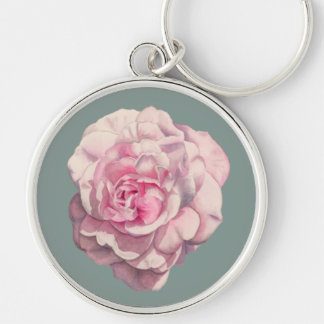 Pink Rose Watercolor Illustration Silver-Colored Round Key Ring