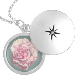 Pink Rose Watercolor Illustration Silver Plated Necklace