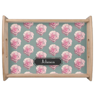 Pink Rose Watercolor Illustration with Family Name Serving Tray