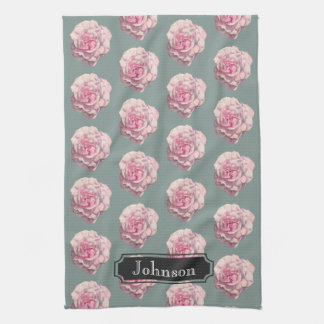 Pink Rose Watercolor Illustration with Family Name Tea Towel