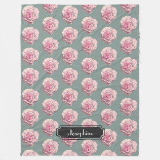 Pink Rose Watercolor Illustration with Name Fleece Blanket