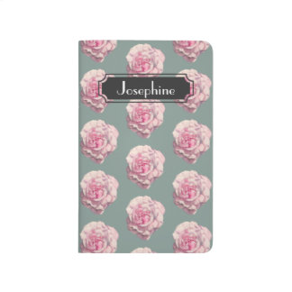 Pink Rose Watercolor Illustration with Name Journals