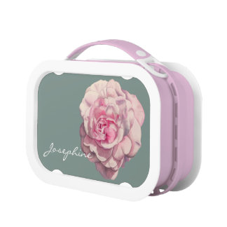 Pink Rose Watercolor Illustration with Name Lunch Box