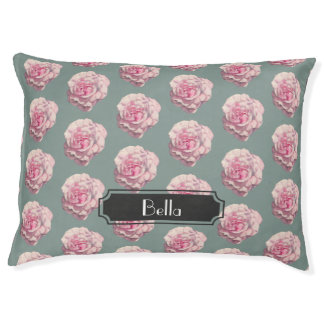 Pink Rose Watercolor Illustration with Name Pet Bed