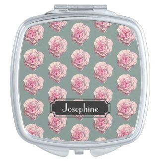 Pink Rose Watercolor Illustration with Name Vanity Mirror