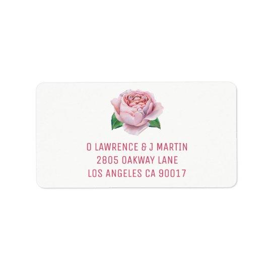 Pink Rose Watercolor Label