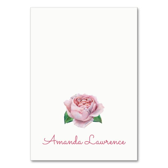 Pink Rose Watercolor Personalised Place Cards