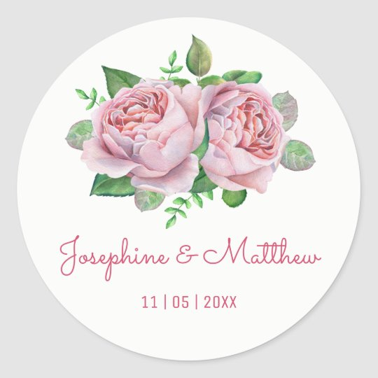 Pink Rose Watercolor Wedding Stickers