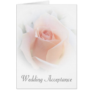 Pink Rose Wedding Acceptance Note Card