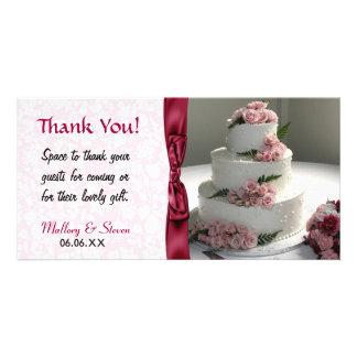 Pink Rose Wedding Cake Photo Card