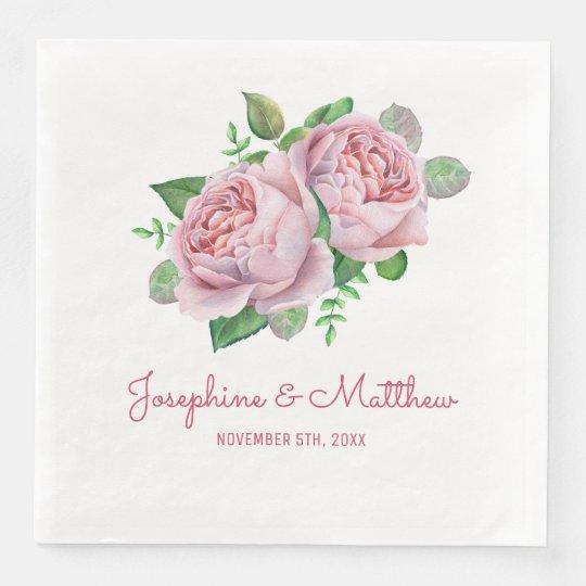 Pink Rose Wedding Disposable Napkin
