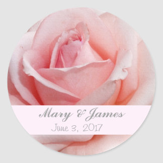 Pink Rose Wedding Envelope Seal Sticker Template