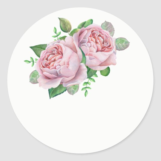 Pink Rose Wedding Favour Stickers