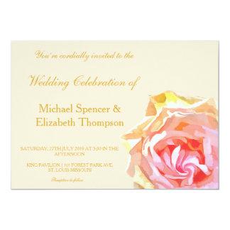 Pink Rose Wedding Invitation