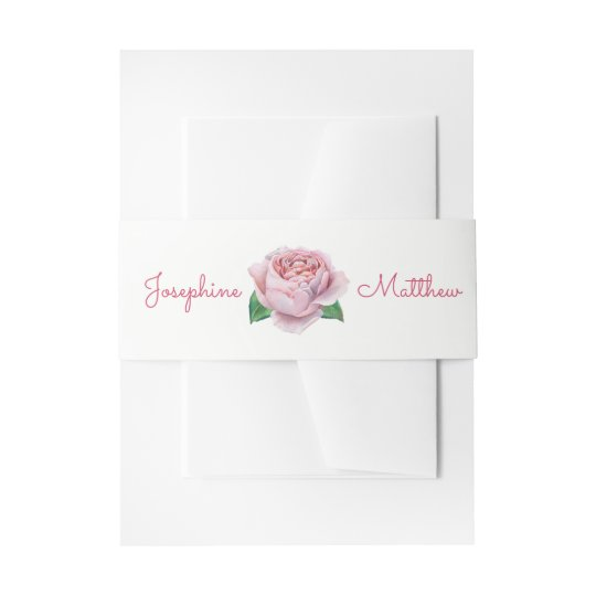 Pink Rose Wedding Invitation Belly Bands Invitation Belly Band