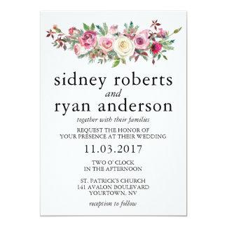 PINK ROSE Wedding Invitation Blush Floral Bouquet
