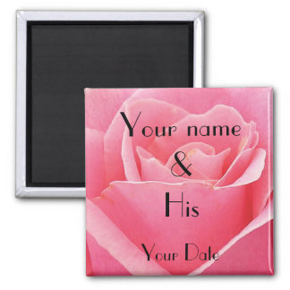 Pink Rose Wedding Magnet