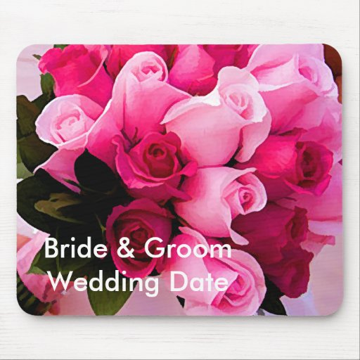 Pink Rose Wedding Memory Mouse Pad Template