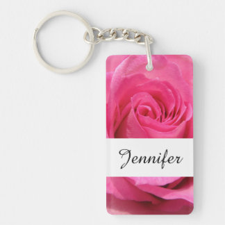 Pink Rose Wedding Photo Double-Sided Rectangular Acrylic Key Ring