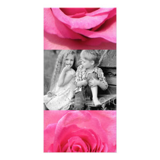 Pink Rose Wedding Photo Photo Card Template