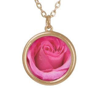 Pink Rose Wedding Photo Round Pendant Necklace
