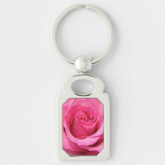 Pink Rose Wedding Photo Silver-Colored Rectangle Key Ring