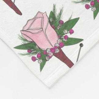 Pink Rose Wedding Prom Boutonniere Flower Blanket