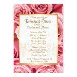 Pink Rose Wedding Rehearsal Dinner 13 Cm X 18 Cm Invitation Card