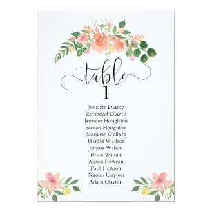 Pink rose wedding table plan with modern script invitation