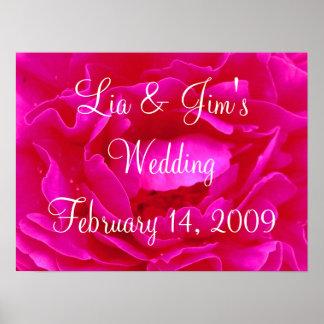 Pink Rose Wedding Valentine Poster Posters