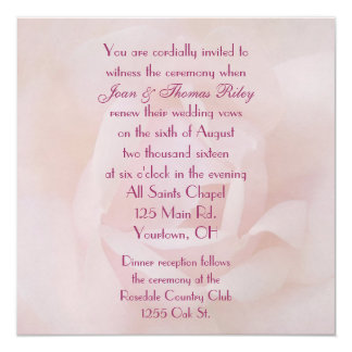 Pink Rose Wedding Vow Renewal Card