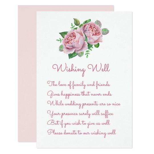 Pink Rose Wedding Wishing Well Cards
