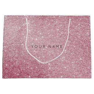 Pink Rose White Glitter Favor Gift Bag