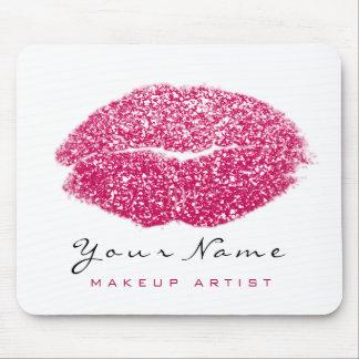 Pink Rose White Glitter Name Makeup Lips Kiss Mouse Mat