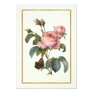 """Pink Rose with Butterfly 5"""" X 7"""" Invitation Card"""